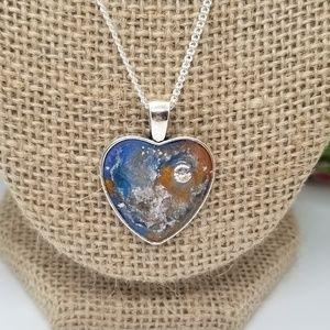 Blue & Silver Resin Heart Pendant